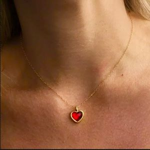 Jewelry - HEART BEZEL PEWTER GOLD CHARM NECKLACE